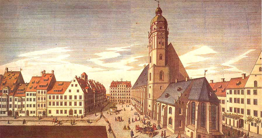 Baroque Leipzig, showing Thomaskirche Square, St Thomas's Church and St Thomas School, Thomasschule