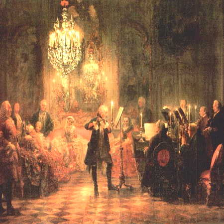 Sans Souci, Potsdam. King Frederick playing the flute