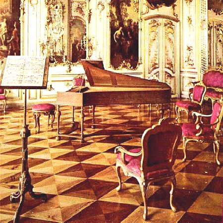 Sans Souci, Potsdam, the music room showig a Silbermann fortepiano, or hammerklavier.