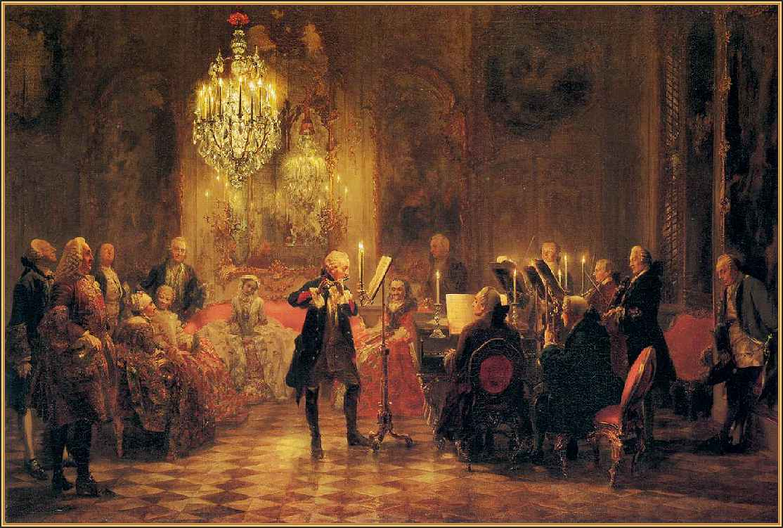 Bach's Musical Offering, painting depicting original performance at Potsdam Court